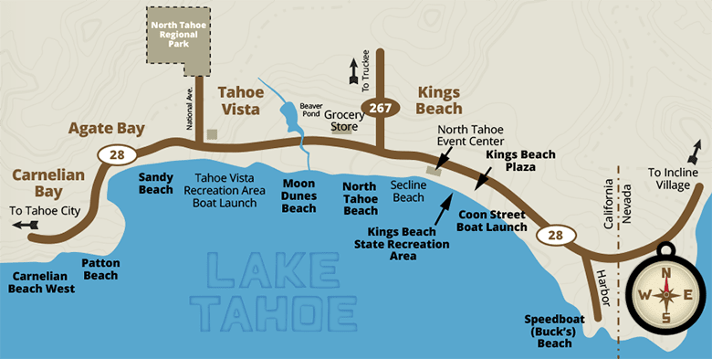 map of north lake tahoe beaches