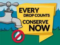 """Every drop counts. Conserve Now"" graphic"