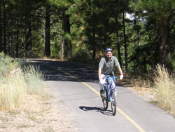Man riding bike on Lake Tahoe Bike Trail