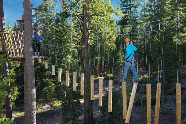 Guy crossing over wind chimes course