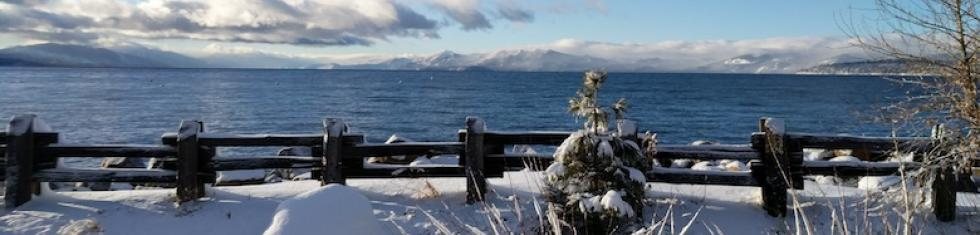 Sandy Beaches Lake Tahoe in the winter