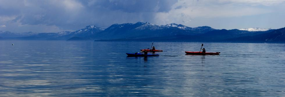Kayakers on Lake Tahoe, Cloudy day