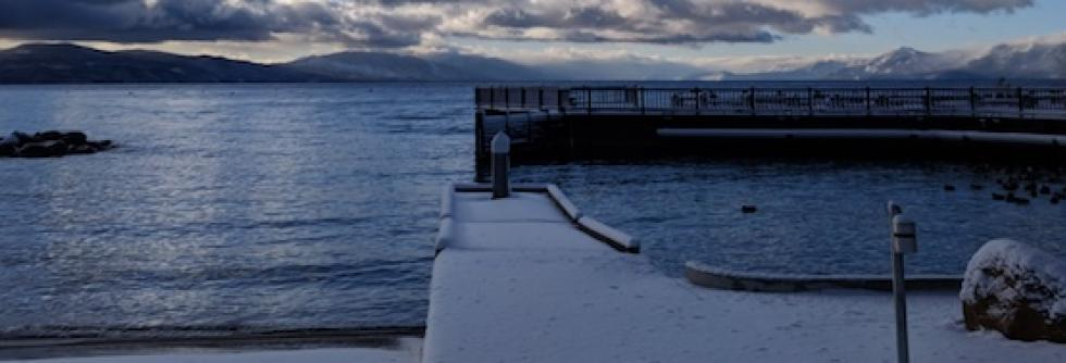 Boat launch in the winter, lake tahoe